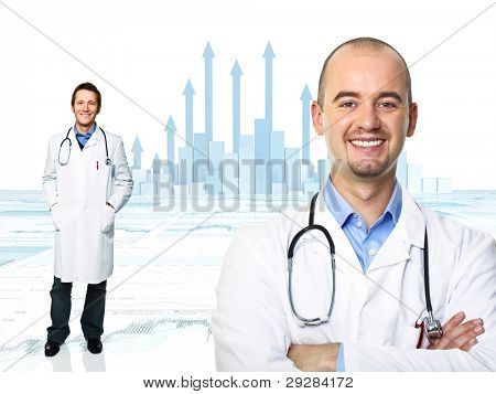 smiling doctor and 3d graph