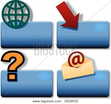 Title Icon Symbol Set Magnifying Glass Arrow Question Globe.Eps