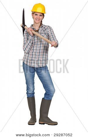 Woman posing with hatchet