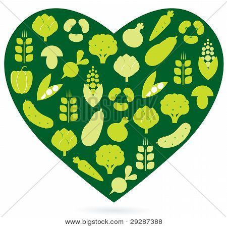 Healthy Food Heart Isolated On White ( Green )