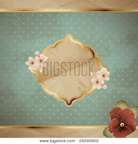 Romantic square banner with flowers