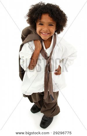 Adorable Preschool Black Girl Child Wearing Father's Oversized Business Suit