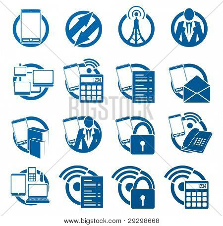 Mobile telephony and Internet connection icon set