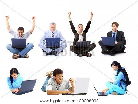 Business collage made of men with laptops