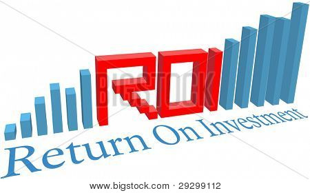 ROI Return on Investment acronym word letters in a business bar chart