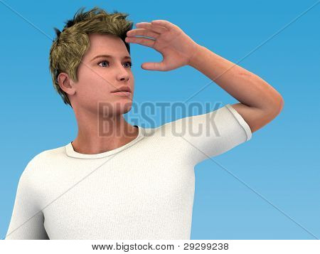 Looking ahead. 3D illustration of a young man looking up and far into the distance or future. Clear blue sky background.