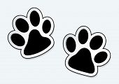stock photo of paw  - Animal paw prints icons with shadow effect - JPG