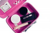 Set Of Womans Cosmetics In A Bag. Womens Secrets. Cosmetics, Perfume, Brushes, Powder, Highlighter poster