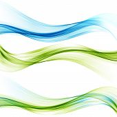 Transparent Vector Waves. Blue And Green Smoke Wave. Set Of Waves. poster