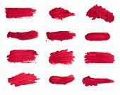 Collection Of Smudged Lipsticks Isolated On White poster