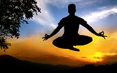 stock photo of padmasana  - Man silhouette doing padmasana lotus pose in jumping with tree nearby outdoors at sunset background - JPG
