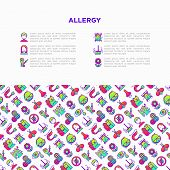 Allergy Concept With Thin Line Icons: Runny Nose, Dust, Streaming Eyes, Lactose Intolerance, Citrus, poster