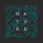 Vector Nature Template. Botanical Green Tea Bush. Realistic Graphic Leaves, Flower. Art Sketch Desig poster