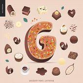 Dessert Font - Letter G - Modern Flat Vector Concept Digital Illustration Of Temptation Font, Sweet  poster