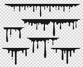Black Dripping Stain. Liquid Paint Splash, Chocolate Flow Border, Caramel Splatter Leak, Melt Paint  poster