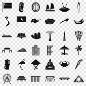 Asian Landmark Icons Set. Simple Style Of 36 Asian Landmark Icons For Web For Any Design poster