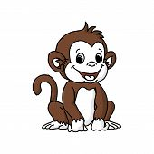 Monkey Head Icon Isolated On White Background. Monkey Head Icon In Trendy Design Style. Monkey Head  poster