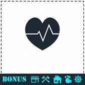 Cardiogram Icon Flat. Simple Vector Symbol And Bonus Icon poster