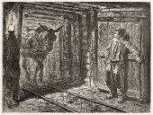 Постер, плакат: Транспорт угля мулов в шахте Созданный Нёвилль Опубликовано Le Tour du Monde Париж 1867