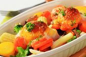 picture of grated radish  - Baked vegetables in deep bowl - JPG