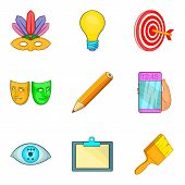 Creation Icons Set. Cartoon Set Of 9 Creation Icons For Web Isolated On White Background poster