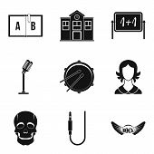School Orchestra Icons Set. Simple Set Of 9 School Orchestra Icons For Web Isolated On White Backgro poster