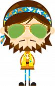 Cute Cartoon Hippie In Sunglasses And Headband poster