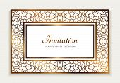Vintage Gold Rectangle Frame With Ornamental Lace Border,  Template For Laser Cutting, Elegant Weddi poster