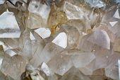 Huge Crystal Of Colorless Gemstone Quarts, Geology Mineral Background poster