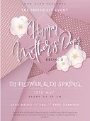 Vector Illustration Of Mothers Day Invitation Party Poster Template With Paper Origami Spring Apple  poster