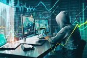 Side View Of Unrecognizable Hacker At Desktop Using Computers With Forex Chart On Blurry Office Back poster