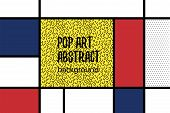 Retro Mondrian Red Yellow Blue Geometric Background. Minimal Trendy Fashion Style Poster. Line Art D poster