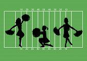 picture of football field  - illustration of cheerleaders on football field background - JPG
