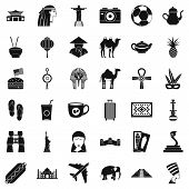 Tour Icons Set. Simple Style Of 36 Tour Icons For Web Isolated On White Background poster