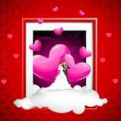 Постер, плакат: Иллюстрация пара на облако выйдя из фото рамка