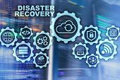 Big Data Disaster Recovery Concept. Backup Plan. Data Loss Prevention On A Virtual Screen. poster