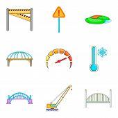 Bridge Erection Icons Set. Cartoon Set Of 9 Bridge Erection Icons For Web Isolated On White Backgrou poster