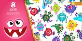 Cartoon Funny Colorful Monsters Composition With Cute Creatures And Joyful Monster Face Vector Illus poster