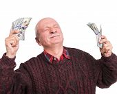 Senior Man Holding A Stack Of Money. Portrait Of An Excited Old Businessman poster