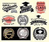 Graduation Vector Set Class Of 2019 Congrats Grad Congratulations Graduate. poster