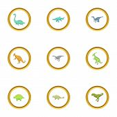 First Dinosaur Icons Set. Cartoon Style Set Of 9 First Dinosaur Icons For Web Design poster