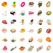 Calorie Icons Set. Isometric Style Of 36 Calorie Icons For Web Isolated On White Background poster