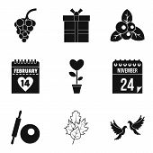Cool Date Icons Set. Simple Set Of 9 Cool Date Icons For Web Isolated On White Background poster