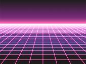 Retro Futuristic Neon Grid Background, 80s Design Perspective Distorted Plane Landscape Composed Of  poster