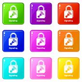 Signaling Icons Set 9 Color Collection Isolated On White For Any Design poster