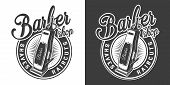 Barbershop Round Logotype With Electric Hair Clipper In Vintage Monochrome Style Isolated Vector Ill poster