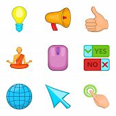 Online Survey Icons Set. Cartoon Set Of 9 Online Survey Icons For Web Isolated On White Background poster
