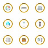 Heating Con Icons Set. Cartoon Style Set Of 9 Heating Con Icons For Web Design poster