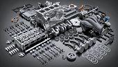 Car Engine Disassembled. Many Motor Parts. 3d Illustration poster