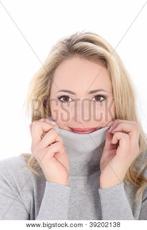Shy Lady Tries Hide Face